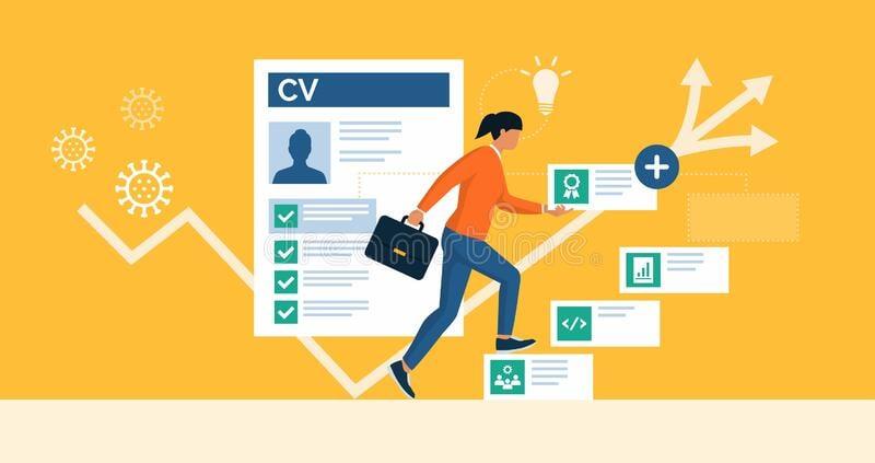 reskilling-upskilling-response-to-covid-job-crisis-coronavirus-businesswoman-adding-skills-her-cv-increasing-employment-211081661